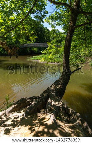 Creek and bridge in starved rock state park, Illinois. #1432776359