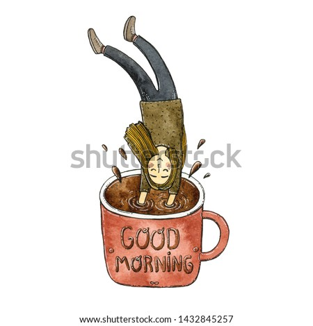 Watercolor hand drawn illustration of the girl jumping inside the coffee cup with wording «Good Morning» on it.