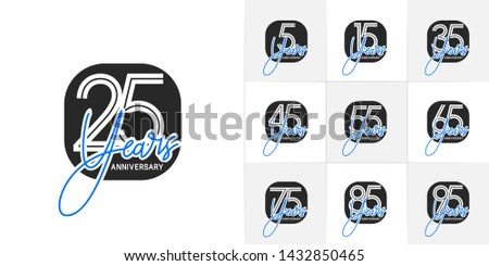 Set of Anniversary vector template design with multiple line number color for precious celebration event #1432850465