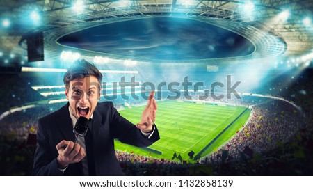 Sports journalist comments on a football match at the stadium #1432858139