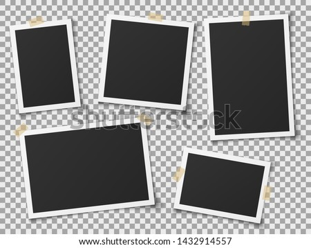 Realistic photo frames. Vintage empty photos frame with adhesive tapes. Images on wall, retro memory album. White blank square old card for photograph memories vector template #1432914557