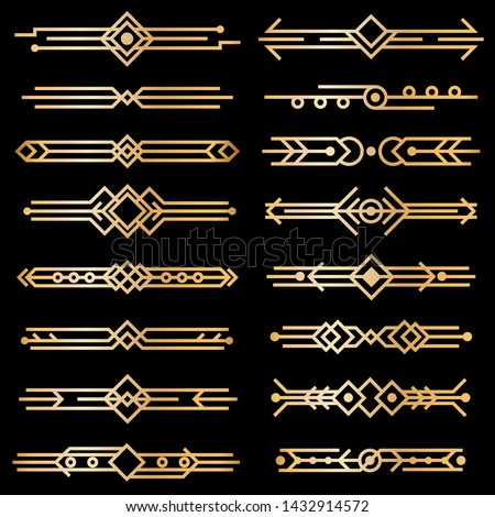 Art deco dividers. Gold deco design lines, golden book header borders. 1920s victorian vintage elements on black. Vector isolated swirl texture decor template collection #1432914572