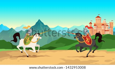 Knight tournament. Battle between medieval warriors in metal armour with lance weapons riding horses. Historical knightly war, jousting men cartoon vector background