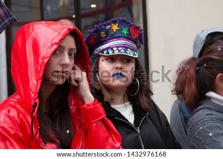 LOULE, PORTUGAL - MAR 2019: Colorful Carnival (Carnaval) Parade festival participants on Loule city, Portugal. #1432976168