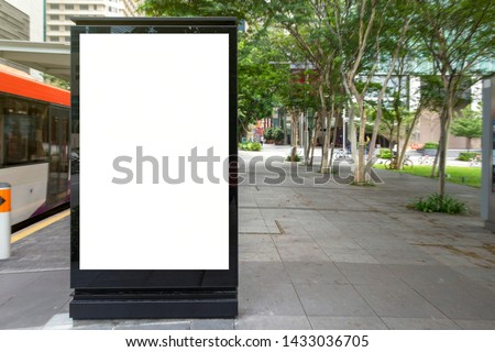 Digital Media blank advertising billboard in the bus stop, blank billboards public commercial with passengers, signboard for product advertisement design #1433036705