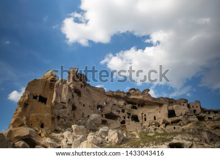 Blue sky on a cloudy day and views of  Cappadocia, Turkey #1433043416