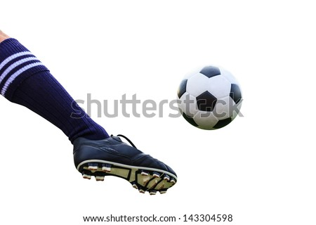 foot kicking soccer ball isolated with clipping path Royalty-Free Stock Photo #143304598
