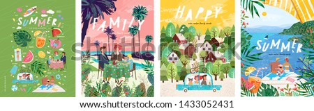 Summer family holidays and weekends! Set of vector illustrations, drawings of mother, father and child on vacation at the resort, eating at a table for lunch or dinner and traveling by car on a trip  #1433052431