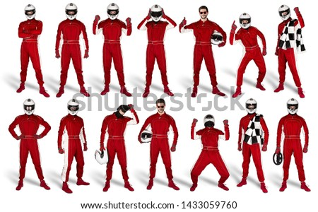 Set Collection of race driver with red overall saftey crash helmet and chequered checkered flag isolated on white background. motorsport car racing sport concept #1433059760