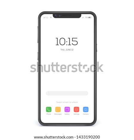 Concept of touch screen smartphone with blank interface. Element of interface on screen icons and buttons isolated on white background. Mobile phone wireless communication. Vector 3d illustration. Royalty-Free Stock Photo #1433190200