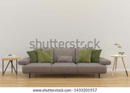 living room interior house parquet wood floor template background mock up design copy space 3d render  #1433201957