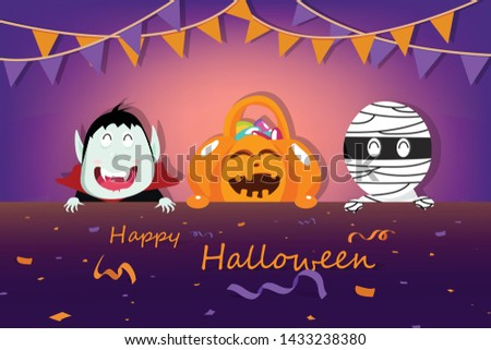 Halloween party, confetti and ribbon, cartoon characters, dracula, mummy and pumpkin seasonal holiday background vector #1433238380