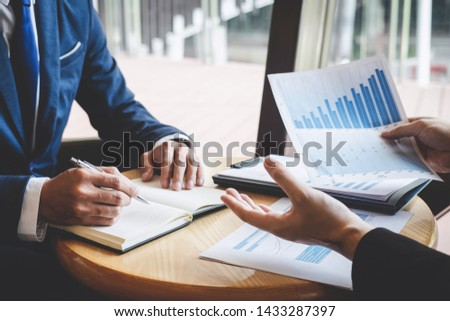 Professional Business partner team discussing on meeting to presentation planning investment project working analyzing and strategy of business making conversation with partner company. #1433287397