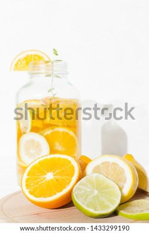 Citrus fruit and lemonade in bank #1433299190