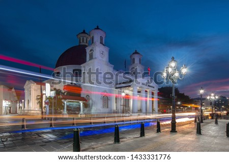 light trail in the front of Protestant Church in Western Indonesia Immanuel (GPIB Immanuel) as known as Blenduk Church - Gereja Blenduk #1433331776