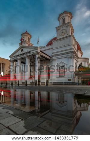 reflection of Protestant Church in Western Indonesia Immanuel (GPIB Immanuel) as known as Blenduk Church - Gereja Blenduk #1433331779