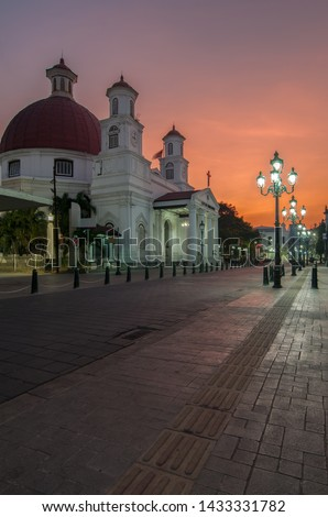 Morning atmosphere at the Old City area, Semarang. This church is a Protestant Church in Western Indonesia Immanuel (GPIB Immanuel) #1433331782