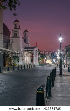 Morning atmosphere at the Old City area, Semarang. This church is a Protestant Church in Western Indonesia Immanuel (GPIB Immanuel) #1433331785
