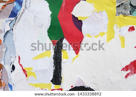 colourful decorative torn poster design pattern, creative trendy artistic paper texture