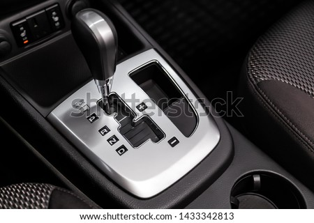 Close up of the automatic gearbox lever, blackinterior car; Automatic transmission gearshift stick; #1433342813