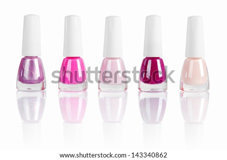 bright nail polishes isolated on white. Clipping path included. #143340862