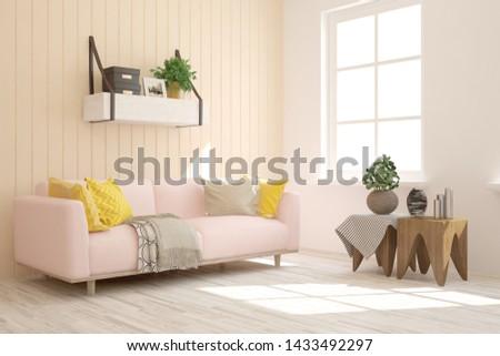 Empty room in white color. Scandinavian interior design. 3D illustration #1433492297