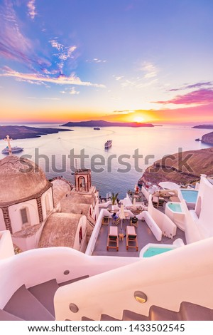 Amazing evening view of Santorini island. Picturesque spring sunset on the famous Greek resort Fira, Greece, Europe. Traveling concept background. Artistic style post processed photo. Summer vacation #1433502545