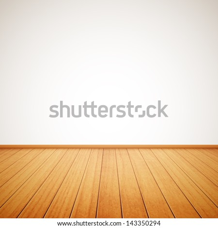 realistic wood floor and white wall eps10 #143350294