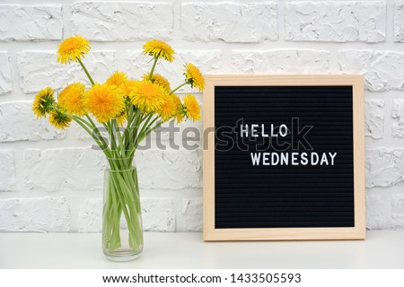 Hello Wednesday words on black letter board and bouquet of yellow dandelions flowers on table against white brick wall. Concept Happy Wednesday. Template for postcard. Royalty-Free Stock Photo #1433505593