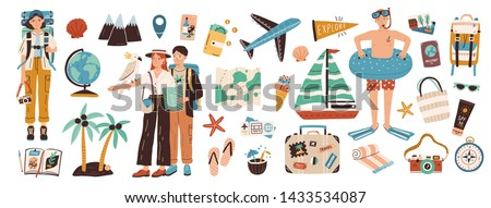 Collection of adventure tourism, travel abroad, summer vacation trip, hiking and backpacking decorative design elements isolated on white background. Flat cartoon colorful vector illustration. #1433534087