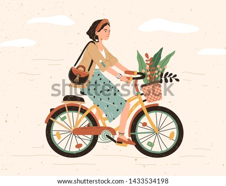 Funny smiling girl dressed in stylish clothes riding bicycle with flower bouquet in front basket. Cute happy young woman on bike. Adorable female bicyclist. Flat cartoon colorful vector illustration.
