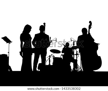 Music man and women whit jazz band at concert #1433538302