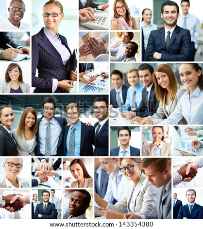 Collage of smart businesspeople and hands of co-workers #143354380
