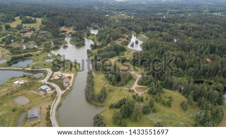 Amatciems lake Aerial drone top view Latvia #1433551697