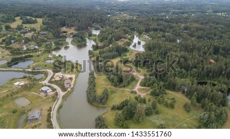Amatciems lake Aerial drone top view Latvia #1433551760