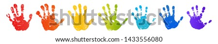 Hand rainbow print isolated on white background. Color child handprint. Creative paint hands prints. Happy childhood design. Artistic kids stamp, bright human fingers and palm Vector illustration #1433556080