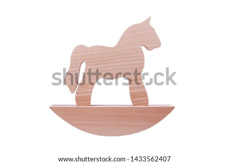 Simple wooden rocking horse toy, horse figure on a stand isolated on white background, trojan horse or simplified traditional children toys concept