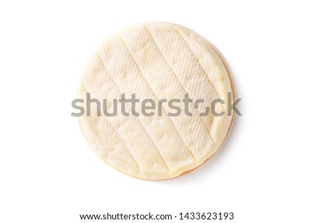 Brie type of cheese. Camembert cheese. Fresh Brie cheese. French cheese. Isolated on a white background. #1433623193