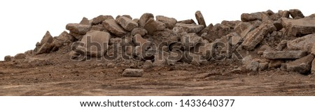 Isolate concrete debris from the demolition, road and placed the left on the ground to be reused in land fills. Royalty-Free Stock Photo #1433640377