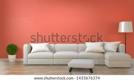 minimalist interior living room ,Living coral decor concept with sofa on wooden floor .3d rendering #1433676374