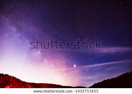 Midsummer Milky Way, Jupiter, Saturn and satellite light in the night sky.
