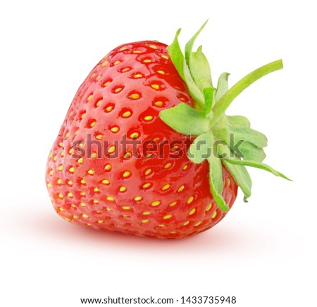 ripe red strawberry isolated on white background clipping path #1433735948
