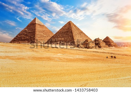 The Pyramids in the sunny desert of Giza, Egypt #1433758403