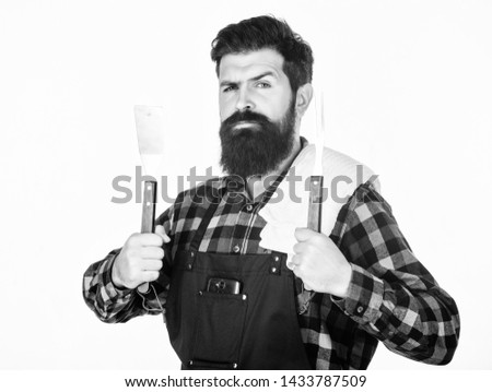 Barbecue master. Bearded hipster wear apron for barbecue. Roasting and grilling food. Man hold cooking utensils barbecue. Tools for roasting meat outdoors. Picnic and barbecue. Cooking meat in park. #1433787509