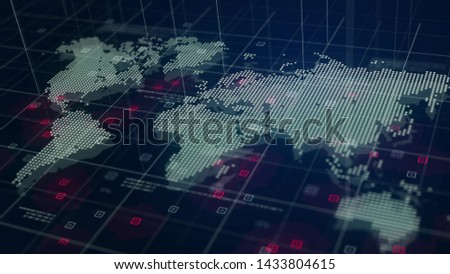 Digital World Map Hologram Blue Background