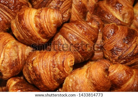 Fresh Baked Croissants. Warm Fresh Buttery Croissants and Rolls. French and American Croissants and Baked Pastries are enjoyed world wide. #1433814773
