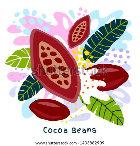 Fresh cocoa beans juice splash organic food condiment spice splatter. Spicy herbs nuts. Abstract colorful art splatter splash background. Vector hand drawn illustration #1433882909