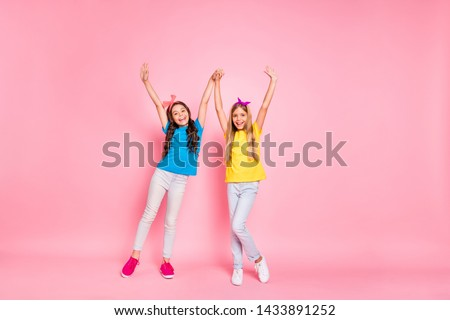 Full body photo of cute fellows have vacation wear trousers colorful t-shirt scream feel rejoice isolated over pink background #1433891252