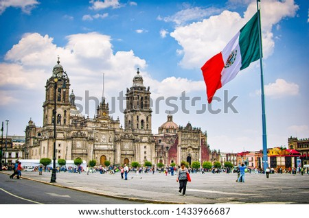 Mexico City, Mexico - April 12, 2012. Main square Zocalo with cathedral and big Mexican flag #1433966687