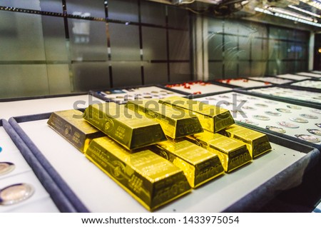 gold bars exposed in a market in grand bazaar, Istanbul Turkey #1433975054